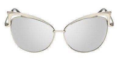 Women's Mirror Cat Eye Vintage Fashion Style Sunglasses - Silver