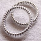 Retro Phone Coil Cord Ponytail Rubber Bands - Silver - 10 Piece Bag