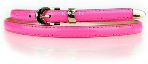 Women's Skinny Belt - Glossy Hot Pink