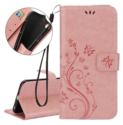 Multi Purpose Vintage iPhone 7 Wallet Stand - Pale Pink