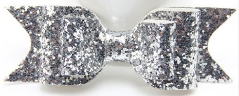 Sequin Bowknot Hair Clip Barrette - Silver (color)