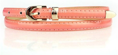 Women's Skinny Belt - Glossy Salmon Pink
