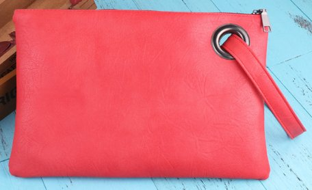 Large Soft Faux Leather Clutch Purse - Hot Pink