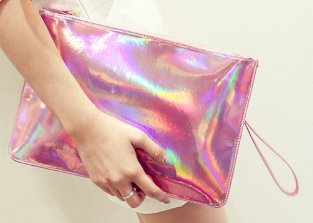 Metallic Neon Messenger Style Clutch Purse - Pink