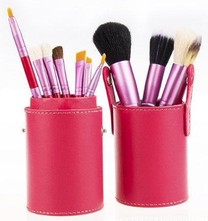 12 Piece Makeup Brush Set - Hot Pink