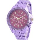 Crystal Rhinestone Studded Women's Fashion Watch - Violet Purple