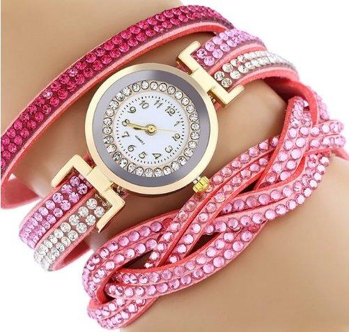 Rhinestone Studded Bracelet Watch - Pink
