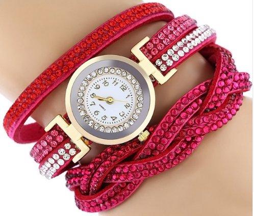 Rhinestone Studded Bracelet Watch - Hot Pink