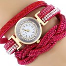 Rhinestone Studded Bracelet Watch - Hot Pink