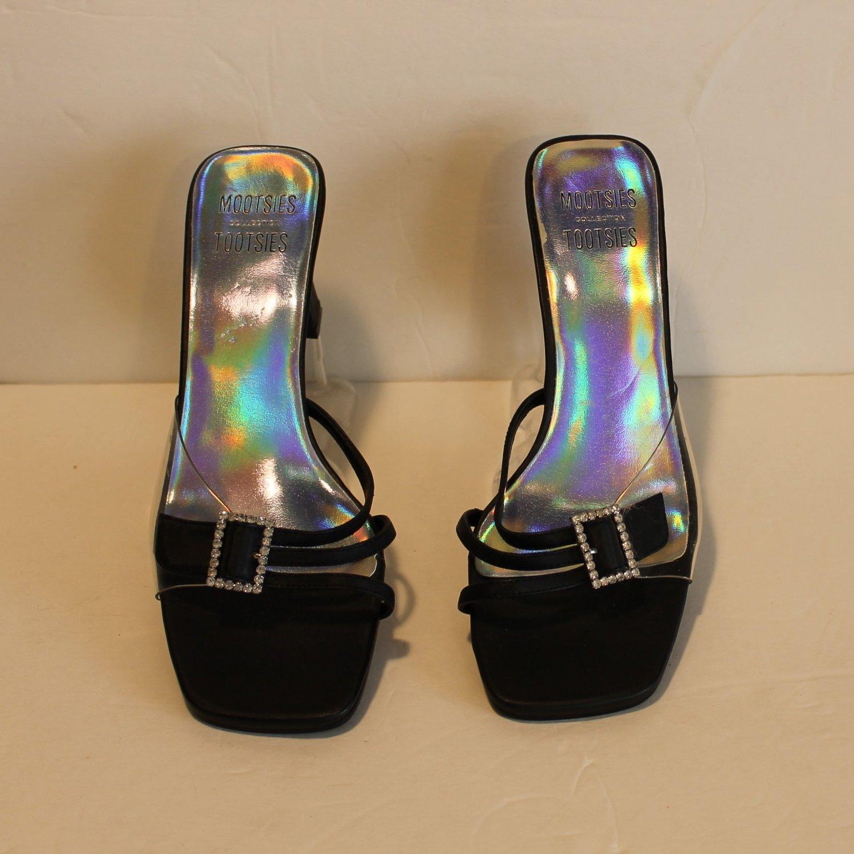 Mootsie Tootsie Black Rhinestone Buckle Low Heel Slip Ons Size 7