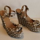 Forever 21 Polka Dot Open Toe Ankle Strap Platform Wedge Shoes Tan White Size 10
