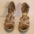 Fioni Night Sparkly Gold Strappy Ankle Strap Platform High Heels Size 9