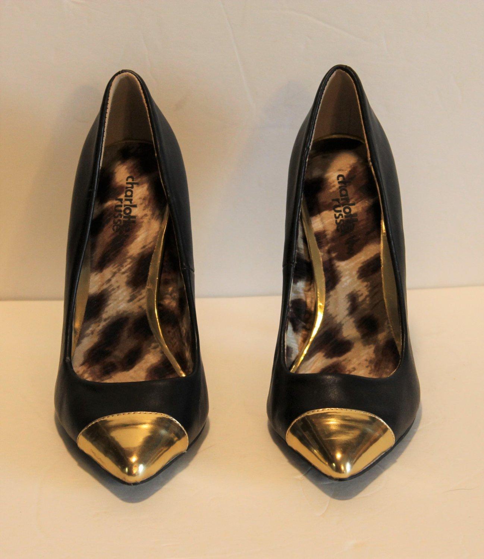 "Charlotte Russe Black Stilettos 4.5"" Heel Gold Toe High Heel  Pumps Shoes Size 7"