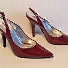"New Delicious Patent Leather Burgundy Red Sling Black Pump 4 1/4"" Heel Size 7M"