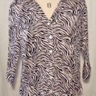 212 Collection Zebra Striped Blouse Top 3/4 Sleeve Women's Size M