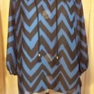 Roz & Ali Tunic Black Blue Chevron Striped 3/4 Sleeve Size S
