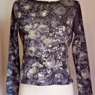 Jones New York Gray Long Sleeve Floral Top with Sequins Petite Size M