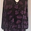 Maggie Barnes Size 4X Black and Purple Pullover Strecth Knit Tunic Top