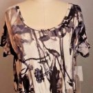 New Nordstrom Leith Black & Ivory Short Sleeve Crop Top Size M