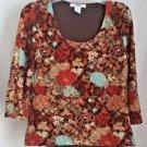 Acorn Tapestry Brown Blue Orange Floral Knit Top Scoop Neck 3/4 Sleeve Size M