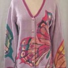 Storybook Knits Butterfly Sweater Lavender With Butterflies and Sequins  Size S