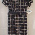 New Leslie Fay Black & White Career Dress Belted Waist Pleated Skirt Size 10