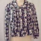 600 West Black & White Geometric Design Jacket Size M