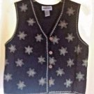 Cambridge Dry Goods Black Embroidered Vest Cotton Linen Blend Size S