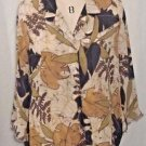 Women's Alfred Dunner Autumn Leaf Print Button Down Shirt Blouse Size 16P