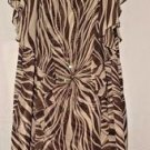 Signature by Robbie Bee Ruffled Dress Beige Brown with Sequins Size 18W