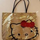 Sanrio Hello Kitty Bag Gold Python Purse Tote Red Sequin Bow Embossed
