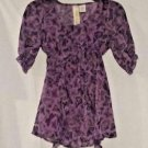 Fresh Brewed Purple Butterfly Overlay Top Size Juniors L