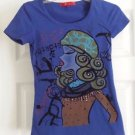 Petite Embellished T Shirt Dark Blue w/Applique and Sequins size Petite Small