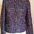Vintage Herbert Grossman Black Multi Color Blazer Button Front Size 8