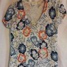Liz Claiborne Knit Top Floral Stretch Scoop Neck Short Sleeve Size SP