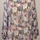 Alfred Dunner Blouse Stained Glass Print Shirt Top 3/4 Sleeves Size 16