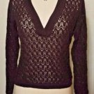 Talbots Brown 100% Mercerized Cotton Open V-neck Sweater Size Petite Medium