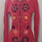 Storybook Knits Sweater Mexican Sunflowers Red Sweater HSN Exclusive Rare! Med.