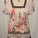 Nicola Sheer Accordion Hippie Top Beige Brown Orange Tunic Length Size Large