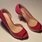 Call It Spring Peep Toe Red Patent Leather Stiletto Heel Hidden Platform Sz 8.5