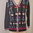 Storybook Knits Black Sweater Embroidered Flowers Size XS