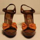 Franco Sarto T Strap Wedge Platform Sandals Brown Leather Orange Fabric Sz 9M