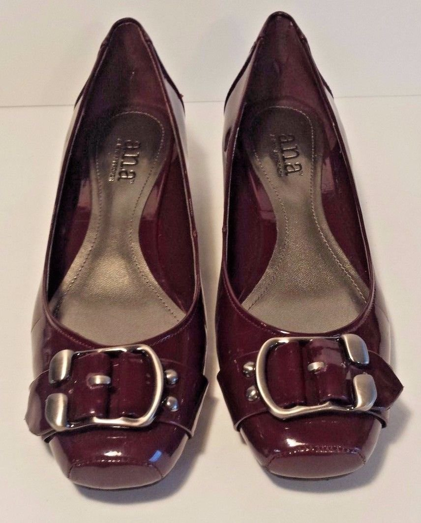 a.n.a. Burgundy Wedge Heels Slip On Pumps Shoes Buckle Front Size 7M