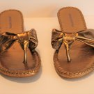 Skechers Gold Wedge Thong Sandals Shoes Size 7