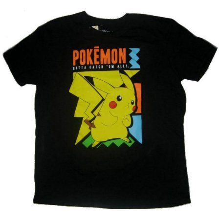 Mens Pikachu Tee Large (Black)