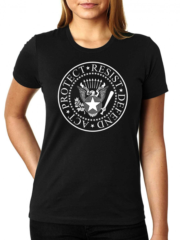 Act - Protect - Resist - Defend RESIST TRUMP Ramones Logo - Women's T Shirt SIZE L