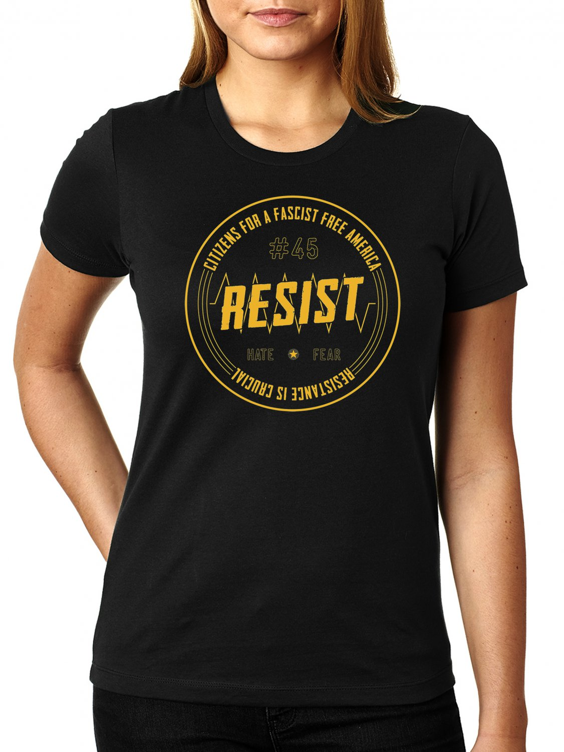 Citizens For A Fascist Free America- RESISTANCE IS CRUCIAL Cheeto Orange Ink - Women's SIZE M