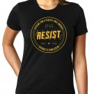 Citizens For A Fascist Free America- RESISTANCE IS CRUCIAL Cheeto Orange Ink - Women's SIZE XL