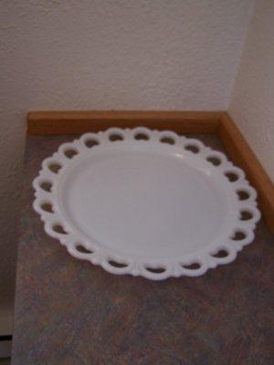"Heavy White Milk Glass Giant Platter 13"" Round"