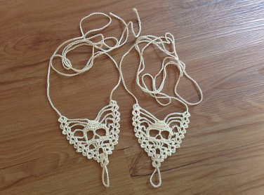Ecru SKULL Barefoot Crocheted Sandals